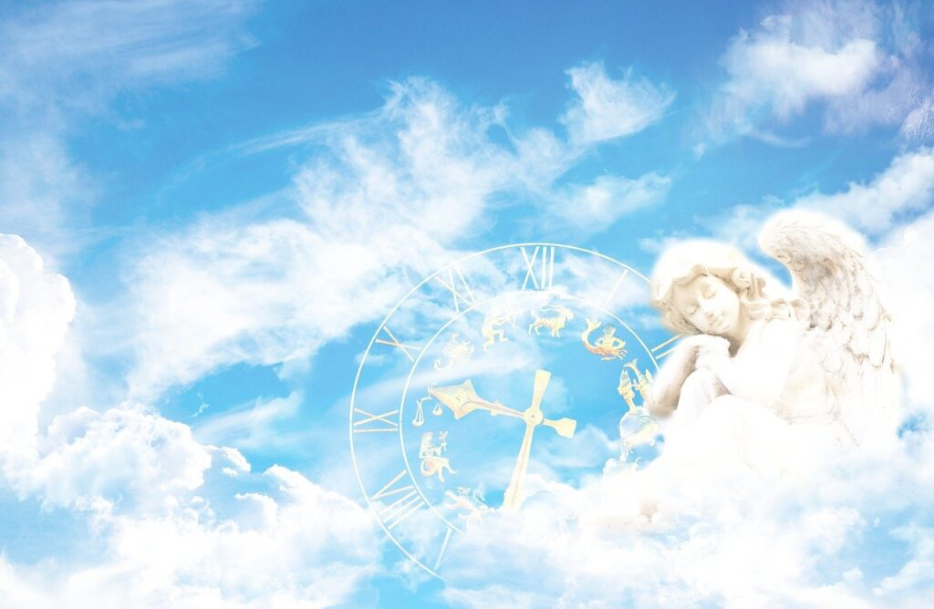fantasy, angel, clock